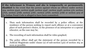 If the informant is Women and she is temporarily or permanently disabled In the event that the person against whom an offence under section 354