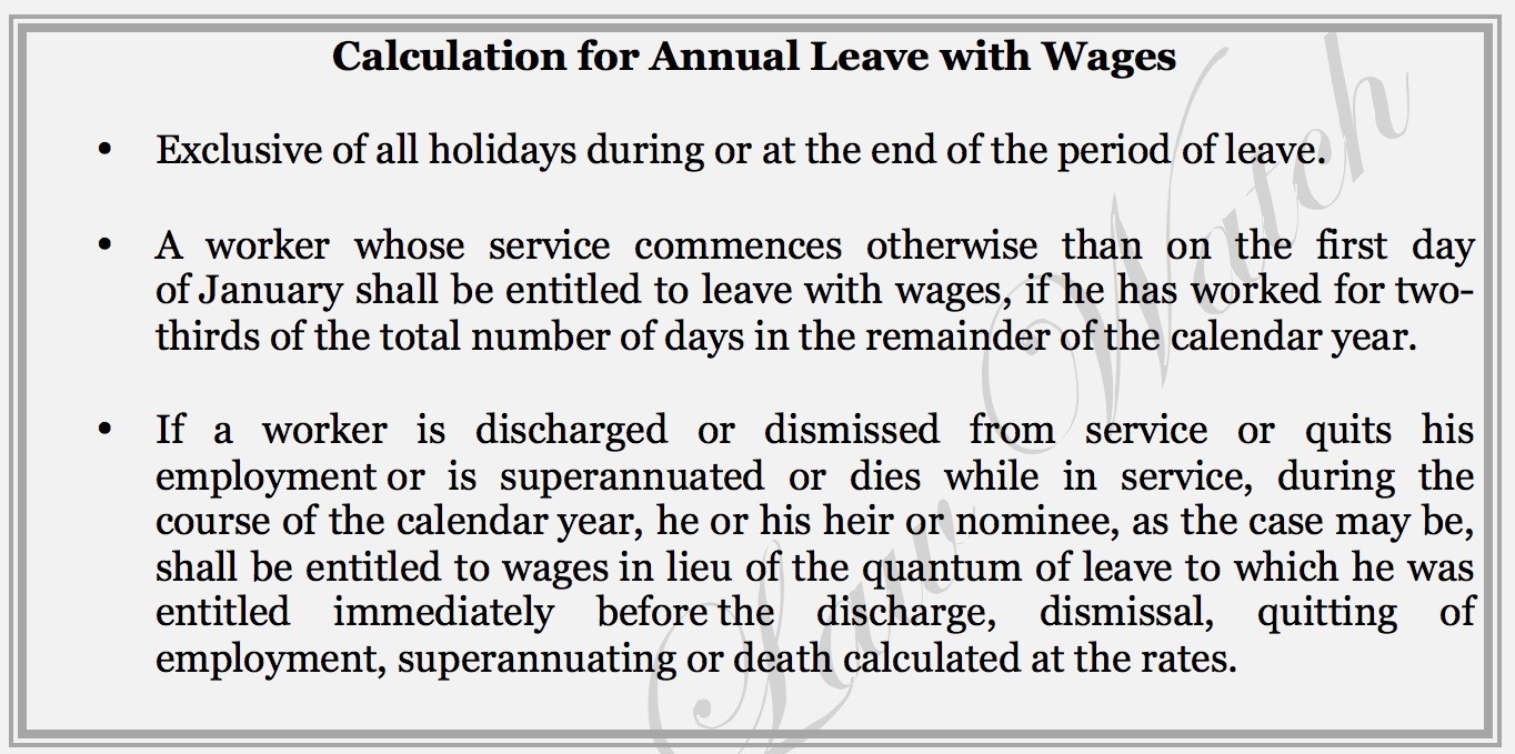 Calculation of leave on dismissal