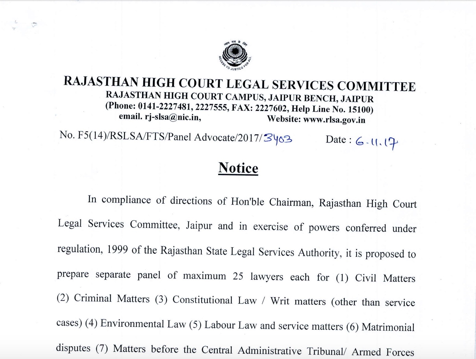 Rajasthan Legal Service Committee
