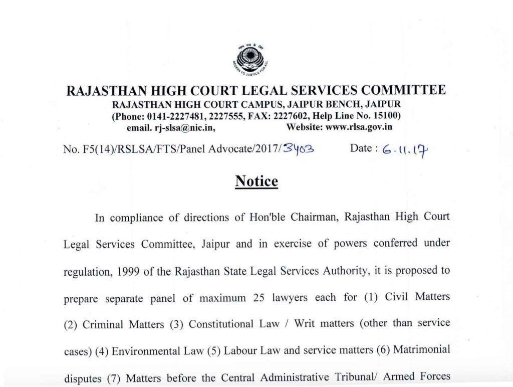 notice for panel lawyers